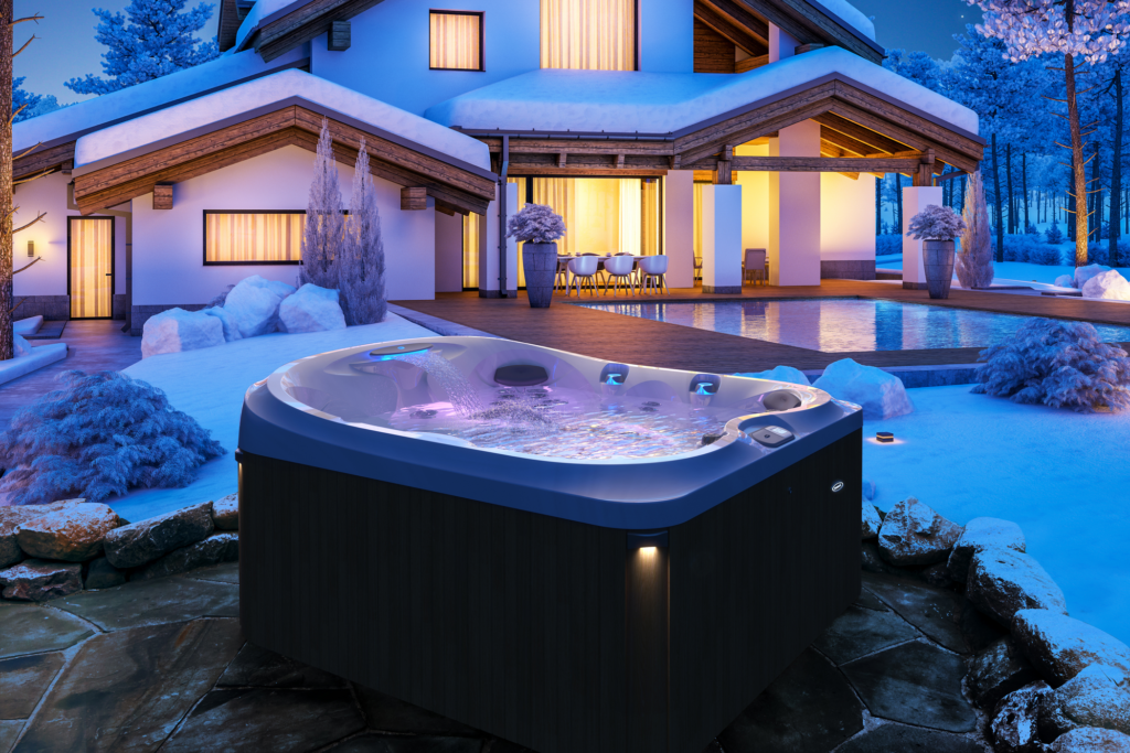 Outdoor Jacuzzi Hot Tub Installation in the Winter