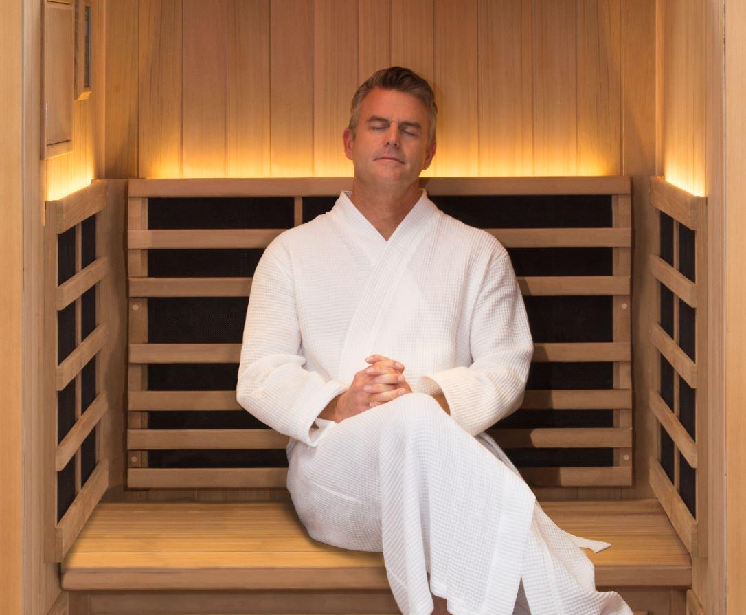 man in sauna in Ontario