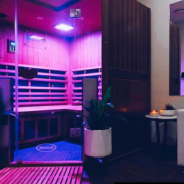 Jacuzzi infrared sauna with purple lights